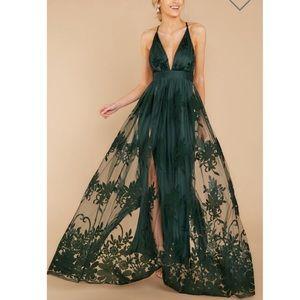 Hunter Green Maxi Lace Dress